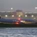 Alaska Boeing 737 takeoff SFO, dusk, beacon on, panned  DSC_0888