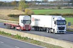 SCANIA AND MERCEDES (panmanstan) Tags: scania mercedes wagon truck lorry commercial freight transport haulage vehicle m62 motorway sandholme yorkshire