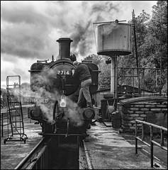 Preparing the Pannier. (Rob-33) Tags: svr severnvalleyrailway steampreservation steamlocomotive pentaxk3 pentax18135wr panniertank 7714 britishrail bewdleystation blackandwhite monochrome uksteam tankengine