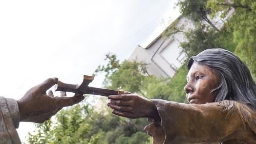 Lady in Blue Sculpture Closeup