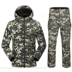 Shark Skin Soft Shell Camouflage Hunting Clothes Suits Outdoor Tactical Military Fleece Jacket+ Pants M06 (fusschaosfashion) Tags: 👀✨ shark skin soft shell camouflage hunting clothes suits outdoor tactical military fleece jacket pants m06