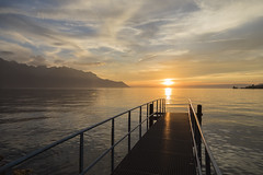 Montreux Switzerland (twohamstersca) Tags: montreux switzerland europe sunset clouds ocean canon5d