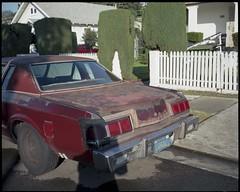 Head on (ADMurr) Tags: la southla red wreck tape head taillight shadow picket fence shrub mamiya 7 kodak ektar 80mm lens mf 6x7 120 daa120