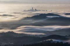 Waves and city (wandering indian) Tags: fog sf mttam city cityscape clouds sanfrancisco kedardatta california karlthefog nikon landscape