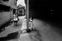 Back street 672 (soyokazeojisan) Tags: japan osaka street city bw people blackandwhite analog olympus m1 om1 21mm film trix kodak 1970s 1975 memories