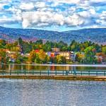 Lake Placid - New York - MIrror Lake - Autumn Scene thumbnail
