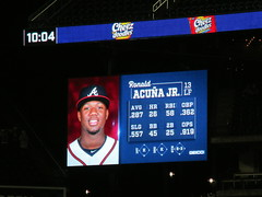 Citi Field, 09/25/18 (NYM v ATL): Ronald Acuna Jr at-bat graphics as shown in the top of the 7th inning (IMG_3512a) (Gary Dunaier) Tags: baseball stadiums stadia ballparks mets newyorkmets flushing queens newyorkcity queenscounty queensboro queensborough citifield