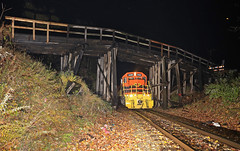 Going... Going.. soon gone (GLC 392) Tags: colonial ave avenue bridge grant newaygo mi michigan wood wooden fall leaf leafs leaves flash flashing mqt 3408 2041 emd gp382 sd402 marquette rail railroad railway train late night rain fog going away dark