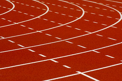 Lines and curves (Jan van der Wolf) Tags: map183109vv lines lijnenspel interplayoflines playoflines curves running runningtrack hardloopbnaa atletiekbaan orange oranje