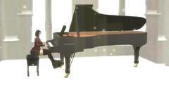 Lonely Pianist (Mizuki Kuroshima) Tags: secondlife view pianist piano cathedral light