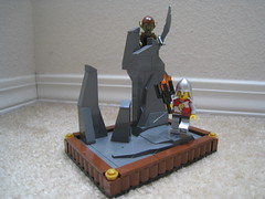 Wrong Turn (jgiese626) Tags: lego moc vignette goblin knight spearman lion skull rock rocky outcropping spire sword torch lost