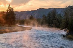 Yellowstone Park at Dawn (Gary Grossman) Tags: river steam sunrise yellowstone park public landscape wyoming madison pines water clouds nature beauty autumn fall garygrossmanphotography naturephotography landscapephotography yellowstonenationalpark nationalpark steamrising redsky madisonriver warmlight earlymorning yellowstoneforever