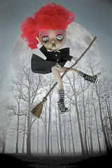 Aaaaack!! Mayday, Mayday! (Pink Anemone) Tags: blythe witch halloween fakie tbl hot pink goth spooky broom