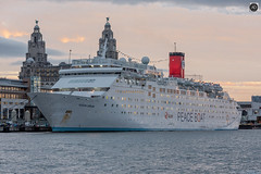 The Love Boat. (alundisleyimages@gmail.com) Tags: pullmanturcruises oceandream cruiseship shipping passengerboat liverpool berth merseyside cruiseliverpool maritime waterfront royalliverbuilding sunset weather funnel peaceboat port harbour buildings pontoon