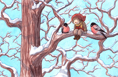 Bullfinch (EmblaEster) Tags: art illustration drawing painting childrens elf christmas nature snow cute whimsical tree blue sky bird birds sitting shadows sun animal