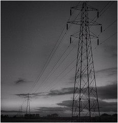 "perspective (andystones64) Tags: pylons electricity structures lines steel sky skywatching clouds outdoors outside trees horizon countryside nature ""vanishing point"" bw"