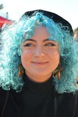 Brilliant blue (radargeek) Tags: okc oklahomacity oklahoma plazadistrict dayofthedead 2018 october smile bluehair portrait