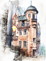 The Writers' Museum, Edinburgh 4-1600© (Serhii - photo, graphics) Tags: watercolor digitalwatercolor architecture drawing architecturaldrawing