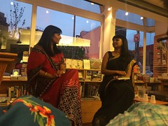 Mira and Tanwi (olive witch) Tags: 2015 aug15 august booklaunch bookstore fem indoors night nyc pair