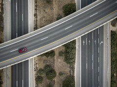 Calculating Route (FX-1988) Tags: mavic pro dji drone aerial aerialphotography rode highway interchange path line top israel ענבה ישראל מחלף red car lost infrastructure