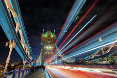Zooming across Tower Bridge (Pat Charles) Tags: london england unitedkingdom uk longexposure travel tourism tripod nikon europe towerbridge thames river londonbridge night nighttime afterdark evening dusk southwark towerhamlets english britain british bridge greatbritain lights light trails cars bus buses doubledecker traffic transport drive driving moving zooming journey travelling traveling leadinglines 1001nights