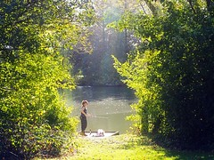 Lady Angler (Smiffy'37) Tags: lake angler angling nature lady sunlight backlit trees landscape