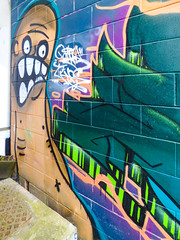 Look Out for the Waves (Steve Taylor (Photography)) Tags: worm waves bald teeth ribs scared frightened chinless cartoon graffiti mural streetart brown blue black green man newzealand nz southisland canterbury christchurch newbrighton surf sea ocean perspective draincover