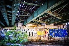 under the bridge (TheOtherPerspective78) Tags: graffiti bridge rails railway trains nordbahnhof vienna wien wall art urban urbex outdoors wilderness lost lostplace city cityspace historic wideangle theotherperspective78 canon eosm6