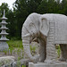 Stone pagoda and elephant