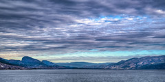 South Okanagan at Dawn (jbarc in BC) Tags: okanagan penticton lake view clouds water trees skyline dawn morning bc autumn sunrise panorama