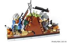 Lettres à leurs proches (Pixel Fox) Tags: lego diorama vignette world war ww1 trench