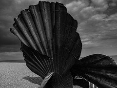 Sea Shell Sculture - Aldeburgh (davepickettphotographer) Tags: aldeburgh beach suffolk uk east eastern england shingle eastofengland blackandwhitephotography landscape shell sculpture thorpness magihambling scallop