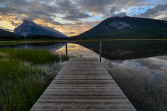 Vermilion Lakes (Ondrej V.) Tags: vermilionlakes banffnationalpark alberta canada lake water reflection landscape outdoor dawn mountain grass sky hdr