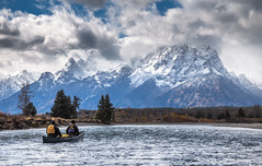 In Awe of the Sights (ebhenders) Tags: grand teton national park snake river wyoming canoe mountain water paddle clouds