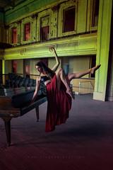 Breanna Marie (Greg Gardner) Tags: breannamarie levitation composite photoshop piano theater stage beauty brunette reddress