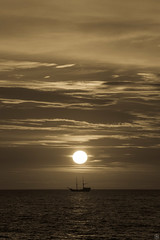 Evening Sail (Slav.Burn) Tags: sea seaside ship balticsea darłówko poland pentaxart sunset sunsetlight sunsetbeauty bw