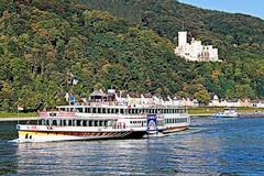 on river Rhine (yorkiemimi) Tags: germany deutschland rhein ship rhine schiff schloss castle water