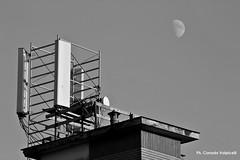 Sognare è un obbligo (Corrado Ph) Tags: city città aerial antenne moon luna black white monocromo bianco nero naples suburban dream skyline