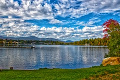Lake Placid - New York - MIrror Lake - Autumn Scene