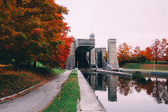 peterborough lift lock (viewsfromthe519) Tags: autumn fall vibes leaves trees colourful orange golden green brown red bokeh peterborough ontario canada kawarthas 705 maple liftlock trent canal canoe reflection