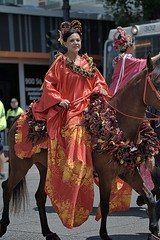 Parade Riding Attire (Scott 97006) Tags: woman female lady riding horse equestrian outfit clothes dress parade decorations
