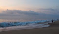 Timeless (Shannonsong) Tags: sea ocean girl lady figure waves clouds sunrise morning dawn am beach breakingwaves daybreak