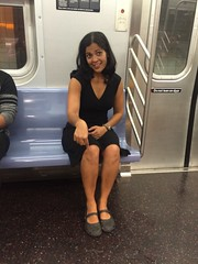 Simi on the subway pointing (olive witch) Tags: 2015 abeerhoque day fem indoors nyc sep15 september subway
