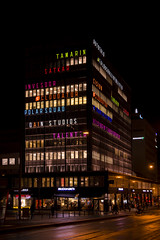 Helsinki (Thomas Gartz) Tags: helsinki helsingfors autotalo signs colourful night building architecture finland scandinavia handheld