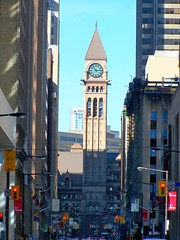 Toronto Ontario - Canada - Old City Hall - Looking up Bay Street (Onasill ~ Bill Badzo) Tags: national historic site oldcityhall city hall architecture style romanesque richardsonian lennox architect baystreet heritage building stone clock tower 1899 iconic opendoors vista onasill blue sky old vintage photo classic kodak 264 toronto on ont ontario canada