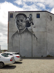 David Kidwell​'s Portrait by Mr G (Steve Taylor (Photography)) Tags: rugby coach grahamhoete mrg davidkidwell graffiti mural portrait streetart grey blue red white concrete gravel carpark man newzealand nz southisland canterbury christchurch cbd city sky cloud