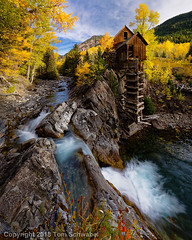 Stacking Up (pdxsafariguy) Tags: autumn crystalmill crystal colorado usa mill stream river mountains water landscape yellow trees waterfall mining aspen creek scenic forest building wooden historic powerhouse abandoned