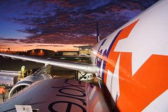 up close...... (GeorgeM757) Tags: georgem757 fedexexpress airbus aircraft aviation airport color sky clouds kcle clevelandhopkins