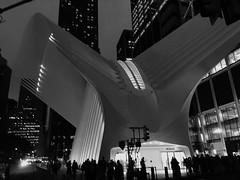 Aegis (MPnormaleye) Tags: newyork urban utata skyline night subway path futuristic design architecture worldtradecenter oculus buildings monochrome blackandwhite