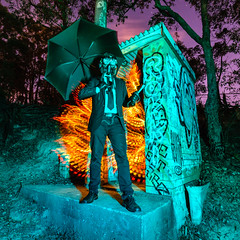 Apocalypso (stephenk1977) Tags: australia queensland qld brisbane night light painting photography hut flame fire blade yongnuoyn360 apocalyptic gasmask